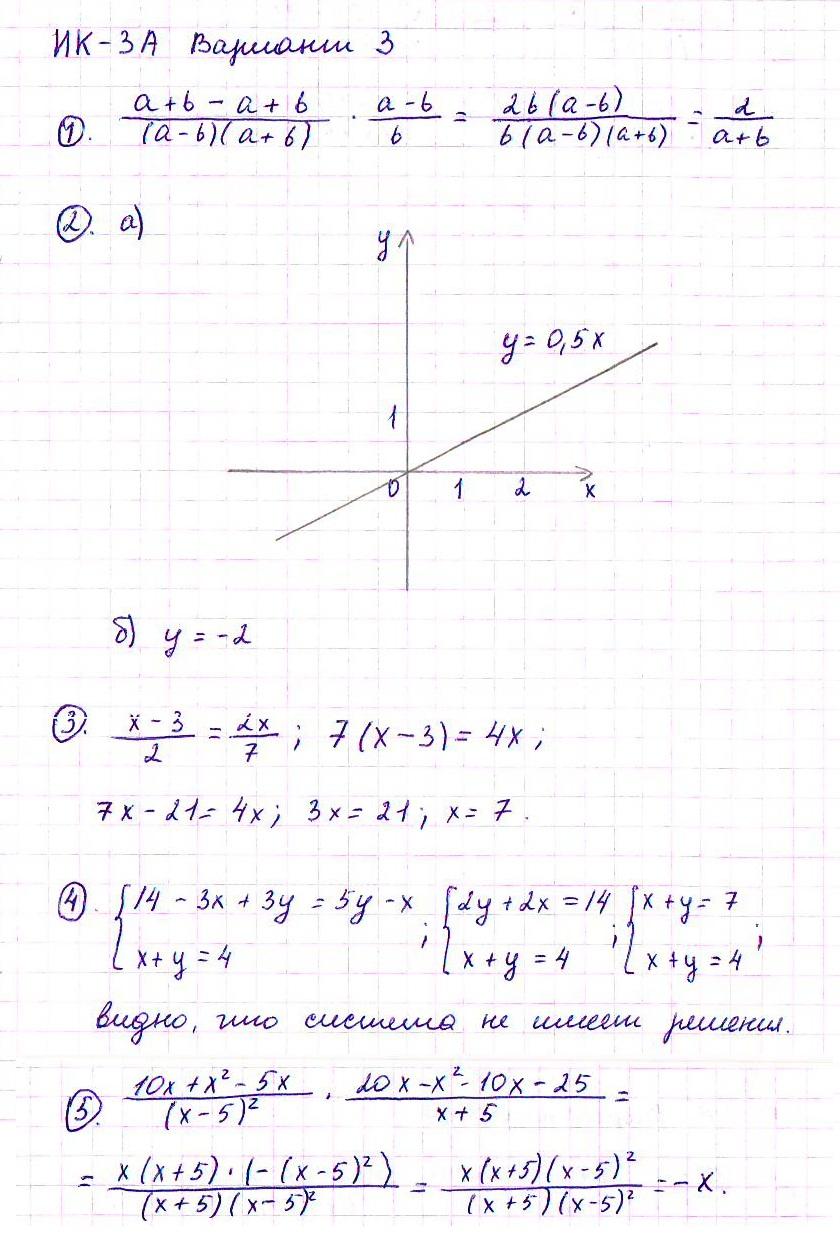 ГДЗ по алгебре класс Дидактические материалы Итоговые  Ответ к задаче № Вариант 3 Дидактические материалы гдз по алгебре 7 класс